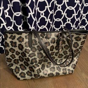 Coach ocelot gray and black city tote
